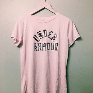 BLUSH PINK, DRY FIT, UNDER ARMOR WORKOUT SHIRT